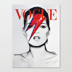 Vogue Magazine Cover. Kate Moss as David Bowie. Fashion Illustration. Canvas Print