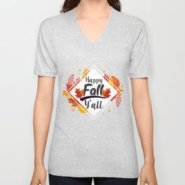 Happy Fall Yall Season Autumn Leaves Unisex V-Neck