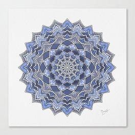 12-Fold Mandala Flower in Blue Canvas Print