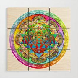 Inner Strength Psychedelic Tiger Sri Yantra Mandala Wood Wall Art