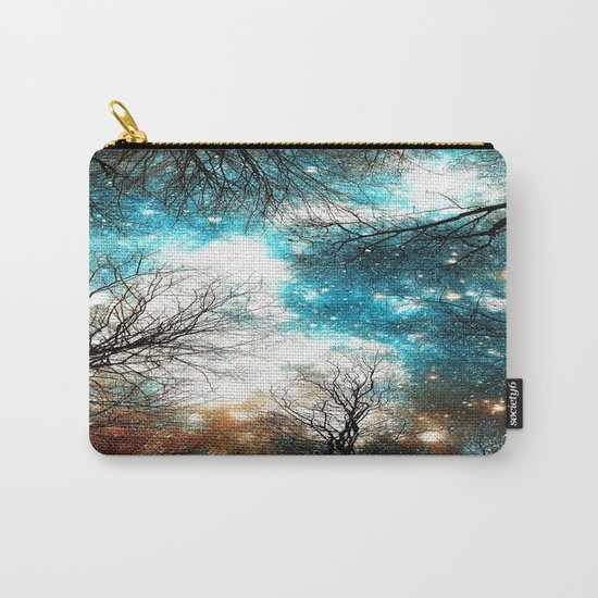 Black Trees Turquoise Brown Space Carry-All Pouch