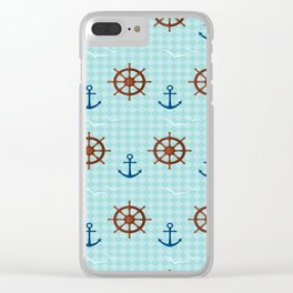 Marine theme on blue Clear iPhone Case