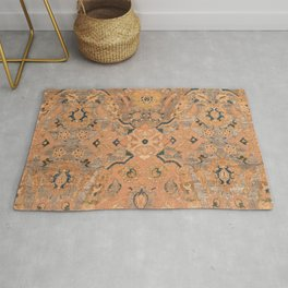 Persian Motif IV // 17th Century Ornate Rose Gold Silver Royal Blue Yellow Flowery Accent Rug Patter Rug
