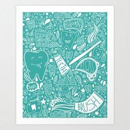 Happy Doodle Teeth Art Print