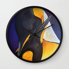 Penguins, acrylic on canvas Wall Clock