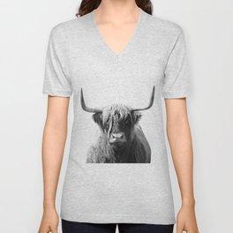 Highland cow | Black and White Photo Unisex V-Neck