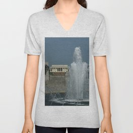 Memorial Fountain  And Lincoln Memorial Unisex V-Neck