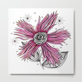 My Funky Valenting - Zentangle Pink Flower Metal Print