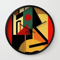 kandinsky Wall Clocks featuring THE GEOMETRIST by THE USUAL DESIGNERS
