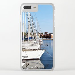 Sailboats all lined up in Martigues France Clear iPhone Case