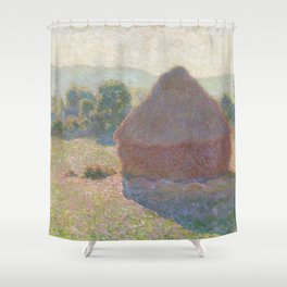 Haystacks, Midday by Claude Monet Shower Curtain