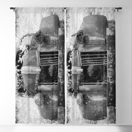 Missing Grill in Abandoned Pickup Rusting in Forest Black and White Infrared Blackout Curtain