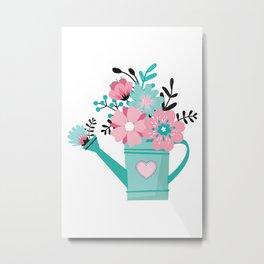 Floral Watering Can Metal Print