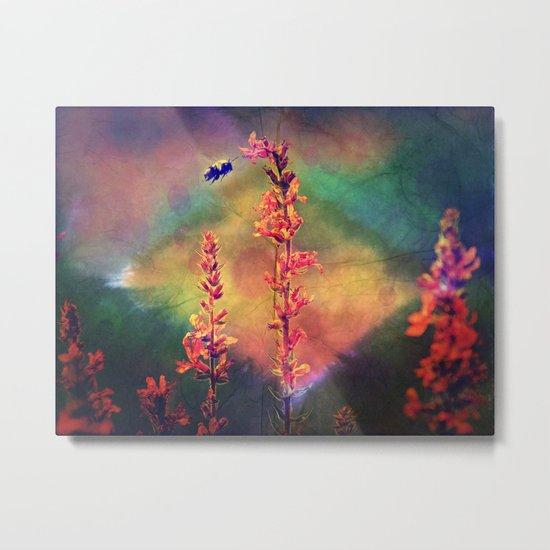 Bee N Wildflowers Diamond Earth Tones Metal Print