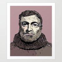 hemingway Art Prints featuring Hemingway by Adrienne Lobl