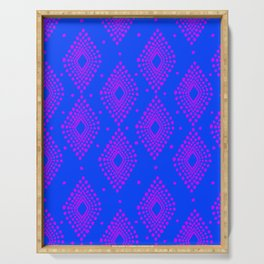 Mudcloth Dotty Diamonds in Neon Purple + Cobalt Serving Tray