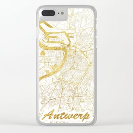 Antwerp Map Gold Clear iPhone Case