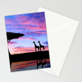 Lonely Tree And Giraffes Silhouette In African Savannah At Sunset Ultra HD Stationery Cards