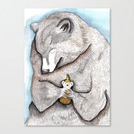 """""""Bear Hug"""" - bear painting watercolor, honey bear art, grizzly bear hug,  Canvas Print"""