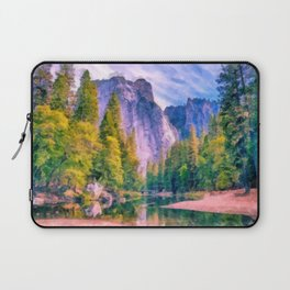 Mountain landscape with forest and river Laptop Sleeve