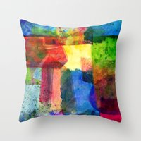 water color Throw Pillows featuring water color by Pao Designs