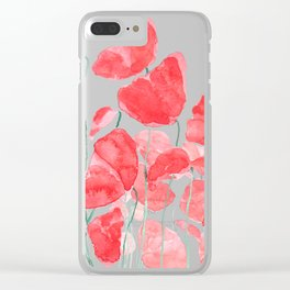 abstract red poppy field watercolor Clear iPhone Case