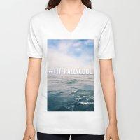 michigan V-neck T-shirts featuring Lake Michigan by Pan Kelvin