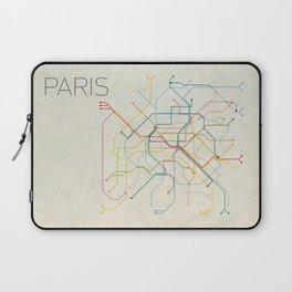 Minimal Paris Subway Map Laptop Sleeve