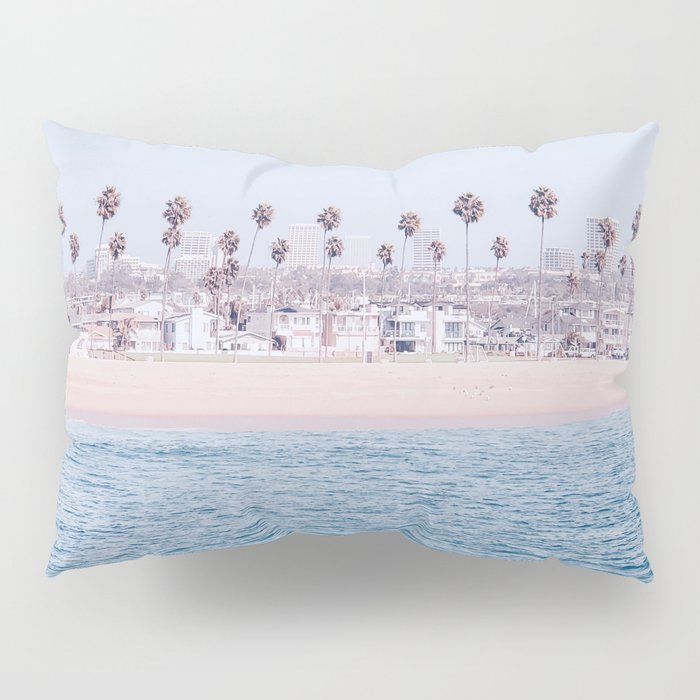 Vintage Newport Beach Print {3 of 4} | Photography Ocean Palm Trees Cool Blue Tropical Summer Sky Pillow Sham