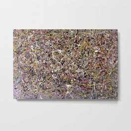 Intergalactic - Jackson Pollock style abstract painting by Rasko Metal Print