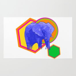 Bright Geometric Elephant Print Rug