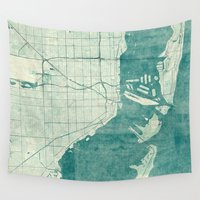 miami Wall Tapestries featuring Miami Map Blue Vintage by City Art Posters