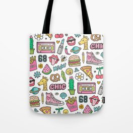 90's Vintage Patches Stickers Doodle Tote Bag