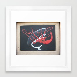 Sperm Whale versus Giant Squid Framed Art Print