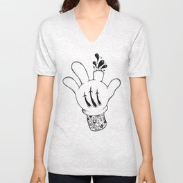 Careful who you point your finger at. Unisex V-Neck