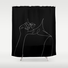 minimal line art - bad habit Shower Curtain
