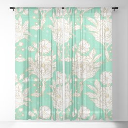 stylish golden and mint floral strokes design Sheer Curtain