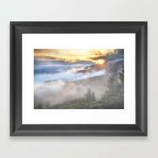 Sunrise and Dust - Mountains - Forest - Wood - Trees - Fog Framed Art Print