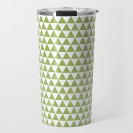 triangles -green and white Travel Mug