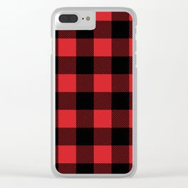 Red and Black Buffalo Plaid Clear iPhone Case