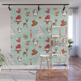 Christmas Elements Reindeer Design Pattern Wall Mural