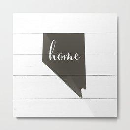 Nevada is Home - Charcoal on White Wood Metal Print