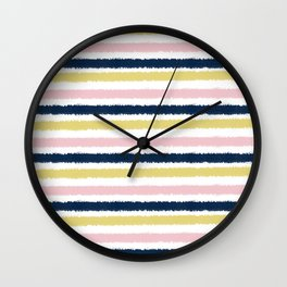 Pink, Gold and Navy blue Pastel Brush Strokes Wall Clock