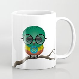Baby Owl with Glasses and Ethiopian Flag Coffee Mug