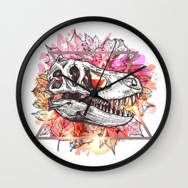 T-Rex Skull And Leaves Wall Clock