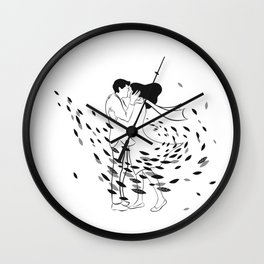 Kissing in the wind Wall Clock