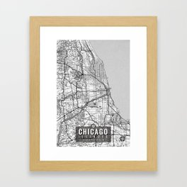 Chicago Map With Coordinates Framed Art Print