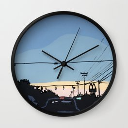 Reidville Road at Sunset Wall Clock