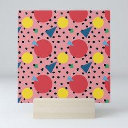 Leopard Geo Mix Pattern Multi Color - Pink Mini Art Print