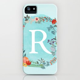 Personalized Monogram Initial Letter R Blue Watercolor Flower Wreath Artwork iPhone Case